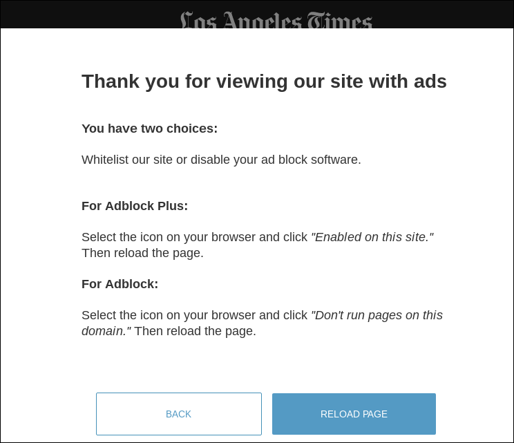 A missing option on the LA Times website
